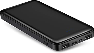 White BOTKK Portable Charger 10000mAh Power Bank External Battery with USB-C Input 3A Input 2A Dual 2.0 USB Ports for iPhone XR XS MAX Galaxy S9//S8 and More Mobile Phones