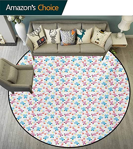RUGSMAT Nursery Round Kids Rugs Colorful Balloons With Happy Teddy Bears Children Cartoon Style Funny Illustration Non Skid Nursery Kids Area Rug For Bedroom Machine Washable Round 31 Inch