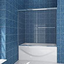 SUNNY SHOWER Model# B020 Frameless Bypass 2 Sliding Bathtub Doors 58.5