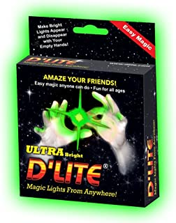 D'lites Regular Green Lightup Magic - Thumbs Set / 2 Original Amazing Ultra Bright Light - Closeup & Stage Magic Tricks - Easy Illusion Anyone Can Do It - See Box for Free Training / Routine Videos