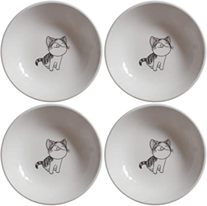 BandTie 4-Pack 4-Inch Small Size Round Plate Kitchen Dishes Chinese Jingdezhen Bone China Soy Sauce Dessert Plates Dish Fashion Creative Ceramics Tea Coffee Cup Saucer,Black Spot
