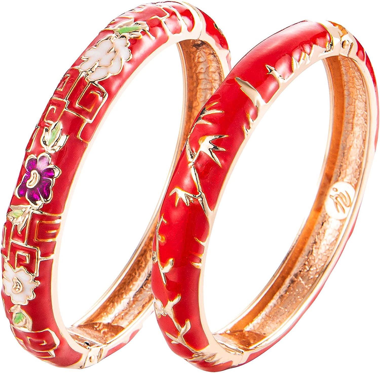 UJOY Cloisonne Bracelet Butterfly Gold Hinge Indian Cuff Bangle Enameled Jewelry Flower Bracelets for Women Gift Box 55A114