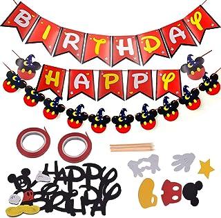 Decoraciones de cumpleaños de Mickey Mouse - YUESEN Banner de Happy Birthday adorno de pastel para la fiesta temática de Mickey Mouse 9PCS