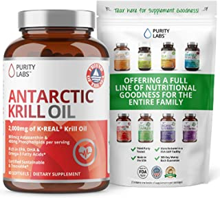 Pure Antarctic Krill Oil Supplement. 2,000mg of Krill Oil and 800mcg Astaxanthin. 60 Softgels Rich in Omega 3, Fatty Acids...