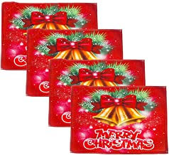 FuSi Christmas Printed Linen Placemat Dining Kitchen Decor Table Mat Placemat (Pack of 4A)