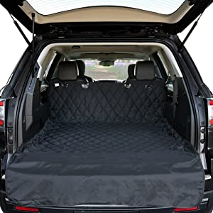 HCMAX Luxury Dog Vehicle Cargo Liner Cover Pet Seat Cover Bed Floor Mat Nonslip Waterproof Universal for Car SUV Truck Jeeps Vans Black Large