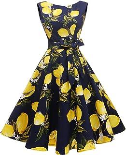 فستان حفلات كوكتيل بقبة واسعة وبدون اكمام وتنورة متارجحة بطراز الخمسينيات للنساء من هانبسيرز