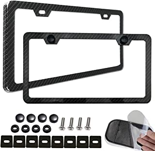 Aootf License Plate Frame Carbon Fiber-2 Pack Black Aluminum License Plate Frames Metal Printing Carbon Fiber Pattern,License Plate Frame Screws Kits,Fine Size for Women Men