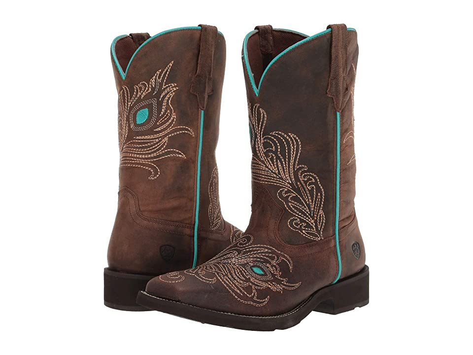 Ariat Bright Eyes Wide Square Toe (Weathered Brown) Cowboy Boots