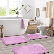 3-Pack Bath Mat Set – Large, Small and Contour Bathroom Rug Set, Absorbent Memory Foam Bath Rugs, Non-Slip, Velvet Microfi...