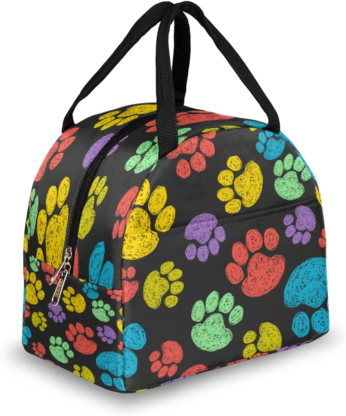 Colorful Dog Paw Max 85% OFF Printed Lunch Insulated Free Shipping New Bo Women for Bag