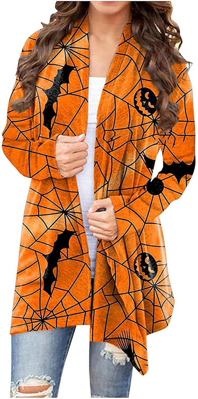 Women's Halloween Long Sleeves Cardigan Funny Cat Pumpkin Printed Open Front Knit Sweaters Autumn Coat Outwear