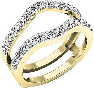 1.60 Carat (ctw) 14K Gold Round Cut Cubic Zirconia Ladies Wedding Enhancer Guard Double Ring