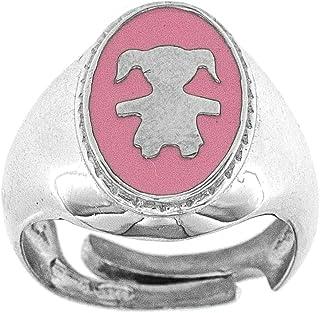 Broky & Co. Anello Chevalier da mignolo in Argento 925 Regolabile con Smalto Colorato Incisione Personalizzata