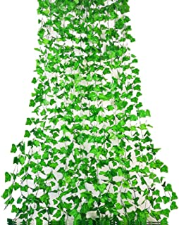 Rurality 96 Feet - 12 Artificial Ivy Garland Fake Green Vines Decoration for Wedding Patio Fence (Green 1)