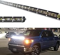 iJDMTOY Hood Scoop Mount 36-Inch LED Ultra Slim Light Bar Kit For 2014-2020 Toyota Tundra, Includes (1) 108W High Power LED Lightbar, Hood Bulge Mounting Brackets & On/Off Switch Wiring Kit