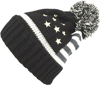 NY GOLDEN FASHION Women Men American Flag Cuffed Knit USA Flag Patriotic Beanie with Pom Pom Winter Hat