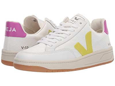 VEJA V-12 (White Mesh/Jaune Fluo/Ultra Violet Leather) Women
