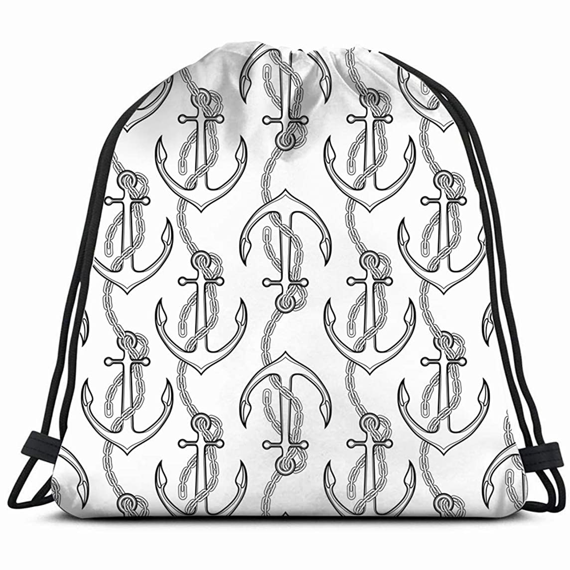 anchor drawn line art style marine objects Drawstring Backpack Gym Sack Lightweight Bag Water Resistant Gym Backpack for Women&Men for Sports,Travelling,Hiking,Camping,Shopping Yoga