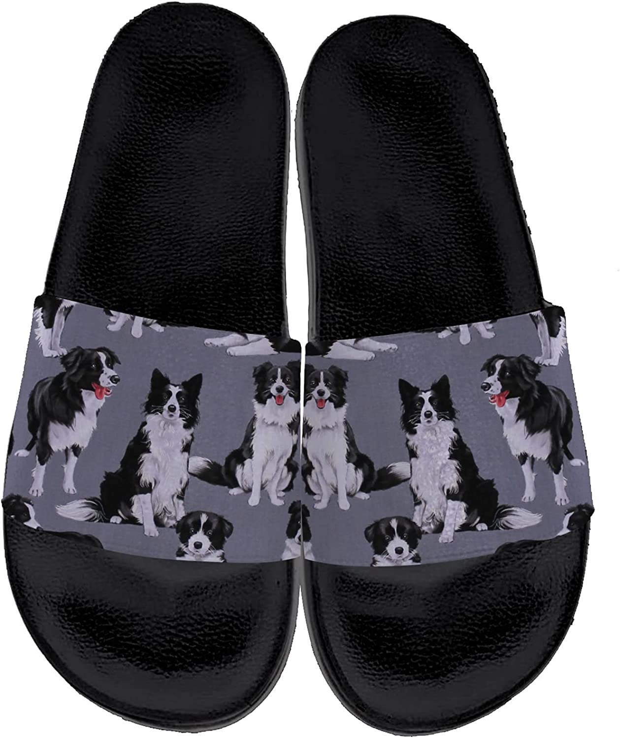 Mens Womens Border Collie Sandals Personalited Lightweight Non-Slip Comfort Beach Slides Slippers Indoor Outdoor Gifts for Friends