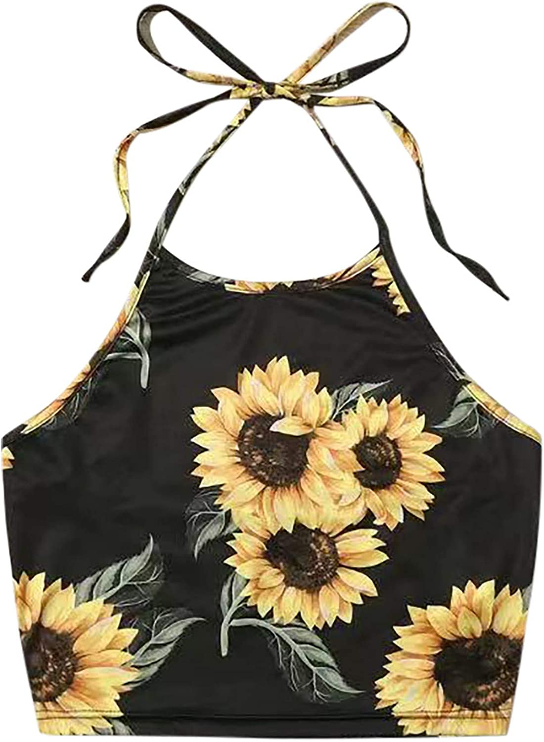 Women Y2K Cropped Tank Tops Sexy Flowers Print Spaghetti Strap Crop Top Cami Shirt Sleeveless Patchwork Camisole