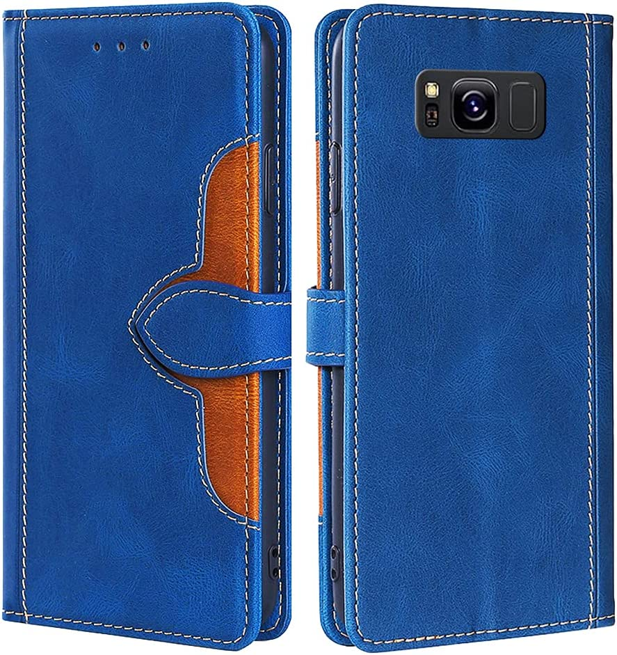 CSTMCASE Leather Wallet Case for Galaxy S8,Samsung S8 Case,Flip Folio Book Credit Card Holder Shockproof Phone Case Cover for Samsung Galaxy S8(Blue)