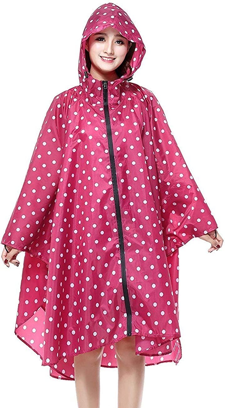 Adelina Damen Regenponcho Regenjacke Wasserdicht Punkte Regenumhang Leicht Atmungsaktiv Regenmantel Regenparka Mit Fashionable Completi Kapuze Rosa