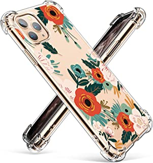 GVIEWIN iPhone 11 Pro Max Case 2019,  Clear Flower Design Soft & Flexible TPU Ultra-Thin Shockproof Transparent Bumper Protective Floral Cover (Flowering/Reseda Green)