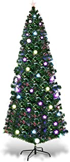 Goplus 7FT Fiber Optic Christmas Tree Pre-Lit Artificial Fireworks Spruce Tree w/Multicolor LED Lights, Top Star & Blossom Bell Decorations