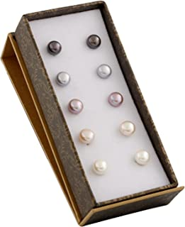 Boxed Set 5 pairs 8mm Genuine Freshwater Cultured Pearl Stud Earrings in 925 Sterling Silver