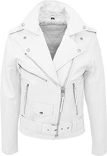 Womens Real Leather Brando Biker Jacket Classic Cross Zip Style Payton White