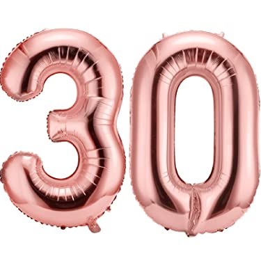 42 Inch 30 Number Balloons Jumbo 30 Foil Balloons Giant 30 Number Balloons for 30th Birthday Party Decorations and 30th Anniversary Event (Rose Gold)