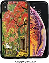 SCOCICI Unique Slim Designs Drop-Protection Smart Cell Phone Case Autumn Scenery with Sakura Tree Cherry Blooms in Nikko Provinence Japan Decorative Compatible with iPhone Xs Max