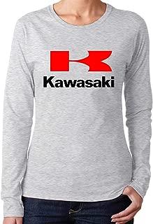 Kaivis New Custom Kawasaki Motorcycles Logos Vector Fashion Funny Long-Sleeved Shirt Round Collar for Women Black