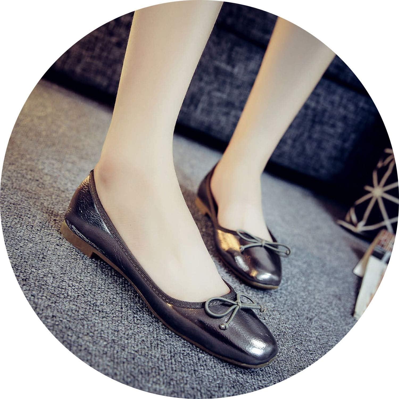 Elegant Bowtie Women Flats 2018Fashion Boat shoes Woman Dress Flats Casual Brand Single shoes