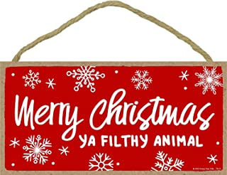 Honey Dew Gifts Merry Christmas Ya Filthy Animal- 5 x 10 inch Hanging Funny Inappropriate Signs, Wall Art, Decorative Wood Sign, Christmas Decor