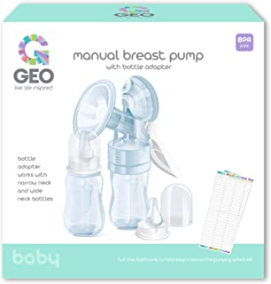 Manual Breast Pump   with Bottle Adapter for Narrow and Wide Neck Bottles   Soft Silicone Shield   Perfect for Breastfeeding Mothers   BPA Free   Includes 2 x 4 Ounce Feeding Bottles