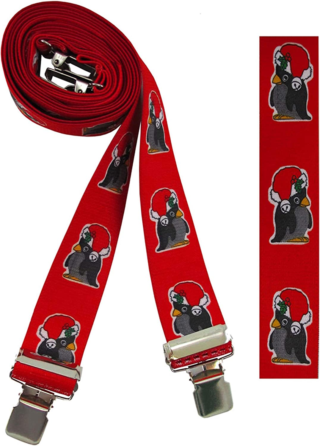 Men's Christmas Suspenders Chilly Penguins in Hats with X-Back - Red