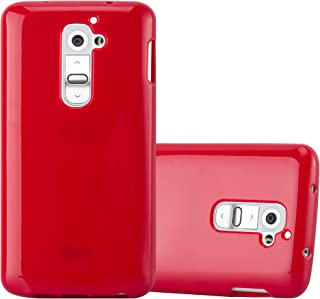 Cadorabo Case Works with LG G2 in Jelly RED – Shockproof and Scratch Resistant TPU Silicone Cover – Ultra Slim Protective Gel Shell Bumper Back Skin