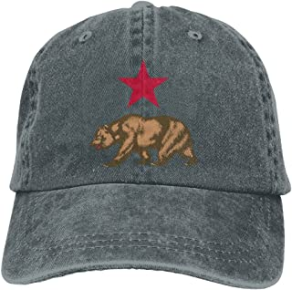 91d7a27f3bd UYILP California Star And Bear Adjustable Baseball Caps Denim Hats Sport  Outdoor