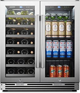 LanboPro Stainless Steel Dual Zone Wine and Beverage Combo Cooler 31 Bottles 58 Cans