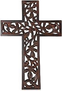 Nirvana Class Wooden Wall Hanging Cross Handmade Antique Design Religious Altar Home Living Room Décor Accessory