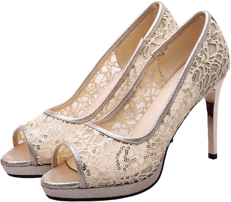 Vitalo Womens Lace Peep Toe High Heel Pumps Platform Stiletto Wedding Bridal Court shoes