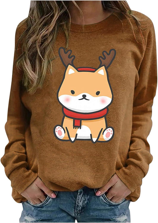 POLLYANNA KEONG Funny Christmas Shirts,Womens Christmas Funny Printed Pullover Lovely Graphic Shirts Crewneck Sweatshirt