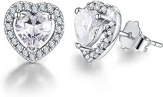 18K Gold Plating 925 Sterling Silver Birthstone Love Heart Stud Earrings Cubic Zirconia Hypoallergenic Earrings Birthday gift for Women and Girls