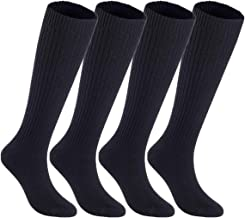 Lian LifeStyle Women's 4 Pairs Knee High Knitted Wool Socks Stripped FS05 Size 7-9