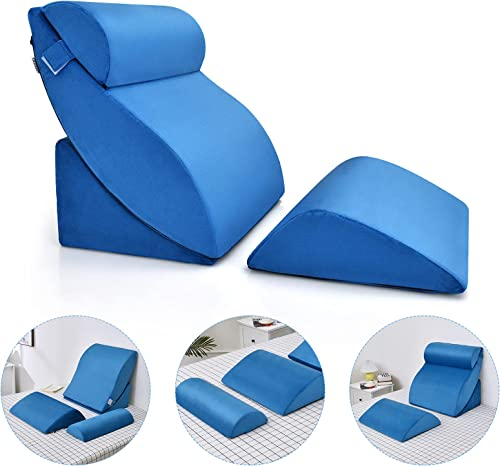 popular Giantex 4 PCS Wedge Pillow Set, Adjustable Memory Foam Incline Pillows with Removable & Washable Cover, online sale Orthopedic 2021 Bed Pillow for Sleeping and Reading, Folding Incline Cushions online sale