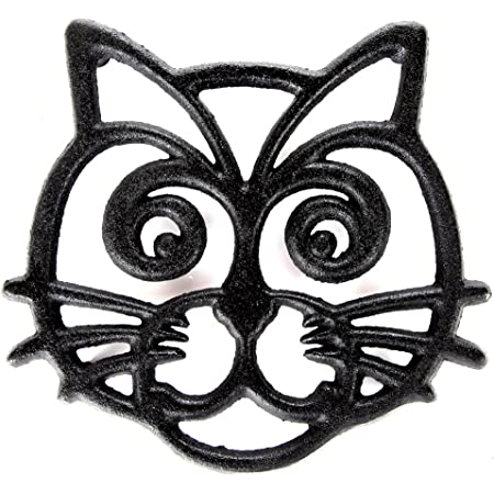 Home-X - Cat Face Cast Iron Trivet, Premium Cast Iron Trivet Mat & Hot Pad with a Non-Slip Elevated Design Protects Surfaces From Heat