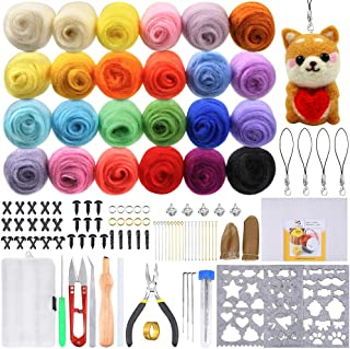 PP OPOUNT Needle Felting Starter Kit including 24 Colors Wool Roving Fibre Yarn, 25 Pieces Wool Felt Tools and Instruction...