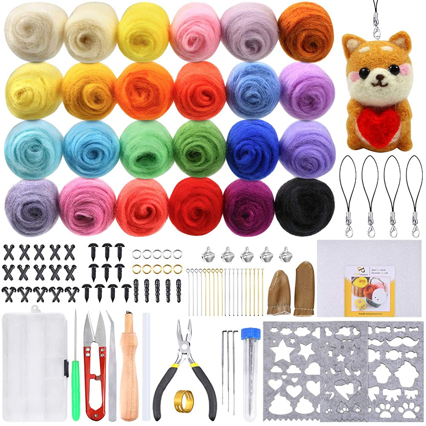 PP OPOUNT Needle Felting Starter Kit Including 24 Colors Wool Roving Fibre Yarn, 25 Pieces Wool Felt Tools and Instructions for DIY Needle Felting